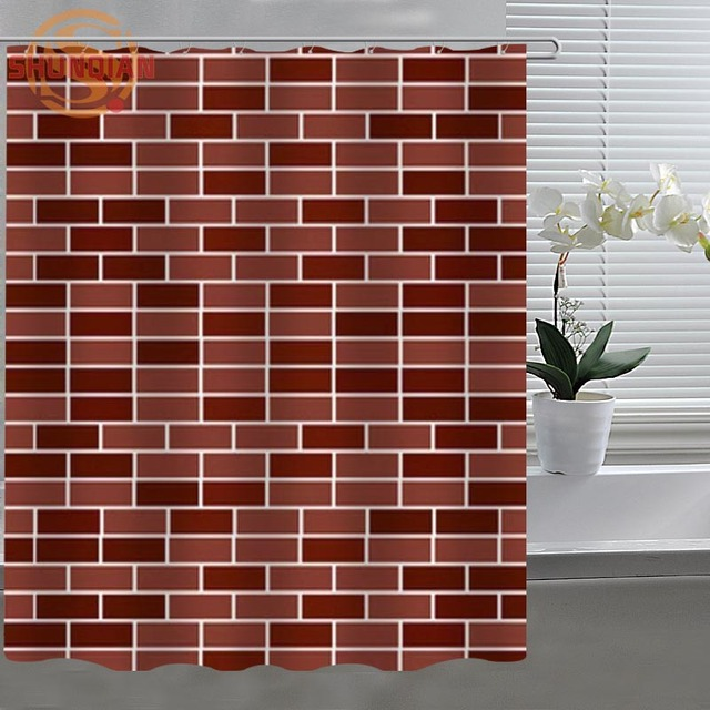Brick Wall Pattern Shower Curtain Eco Friendly Modern Fabric Polyester Custom Home Decor