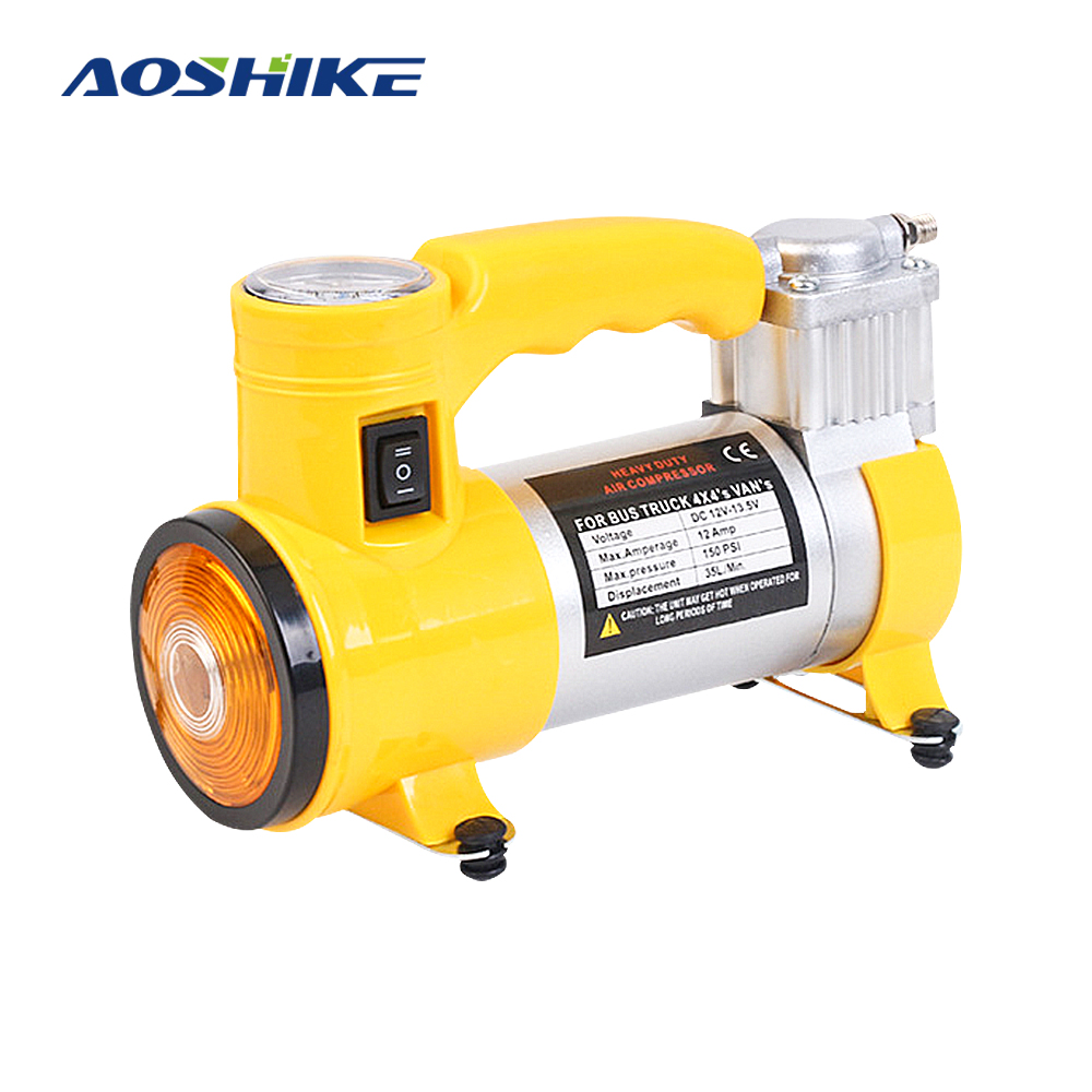 AOSHIKE 12 V 100 W 15A 150PSI métal pour voiture Inflatabl compresseur pompe à air Cylindre Auto gonfleur de pneu De Voiture Avec allume-cigare