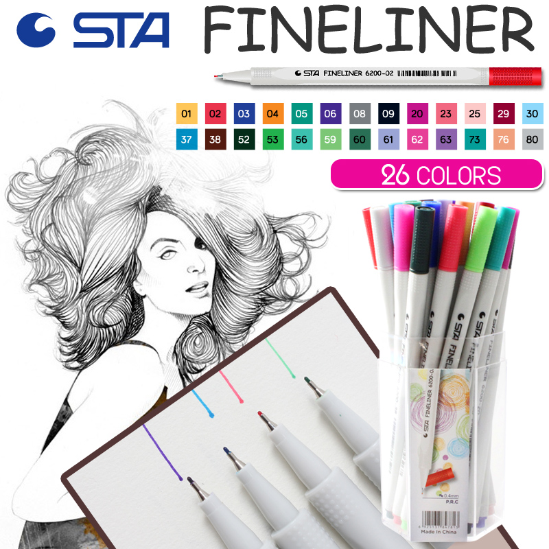 STA 26 Colors Fineliner Hook Line Neelde Sketch Art Marker Pen For Drawing DIY Dairy Christmas Card Photo Stationery Supplies 0 4mm 24 colors art marker pen fine draw point 88 fineliner pens painting pencils children pens no tox drawing marker sketch