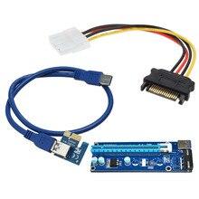 Слева Интерфейс Super speed USB 3.0 PCI-E Express 1x to16x Extender Riser Card Адаптер С SATA 15pin Мужчин и 4-контактный кабель питания
