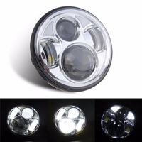 Chrome 5 3 4 5 75 Inch Motorcycle Daymaker LED Projector Headlight Halo DRL For Harley