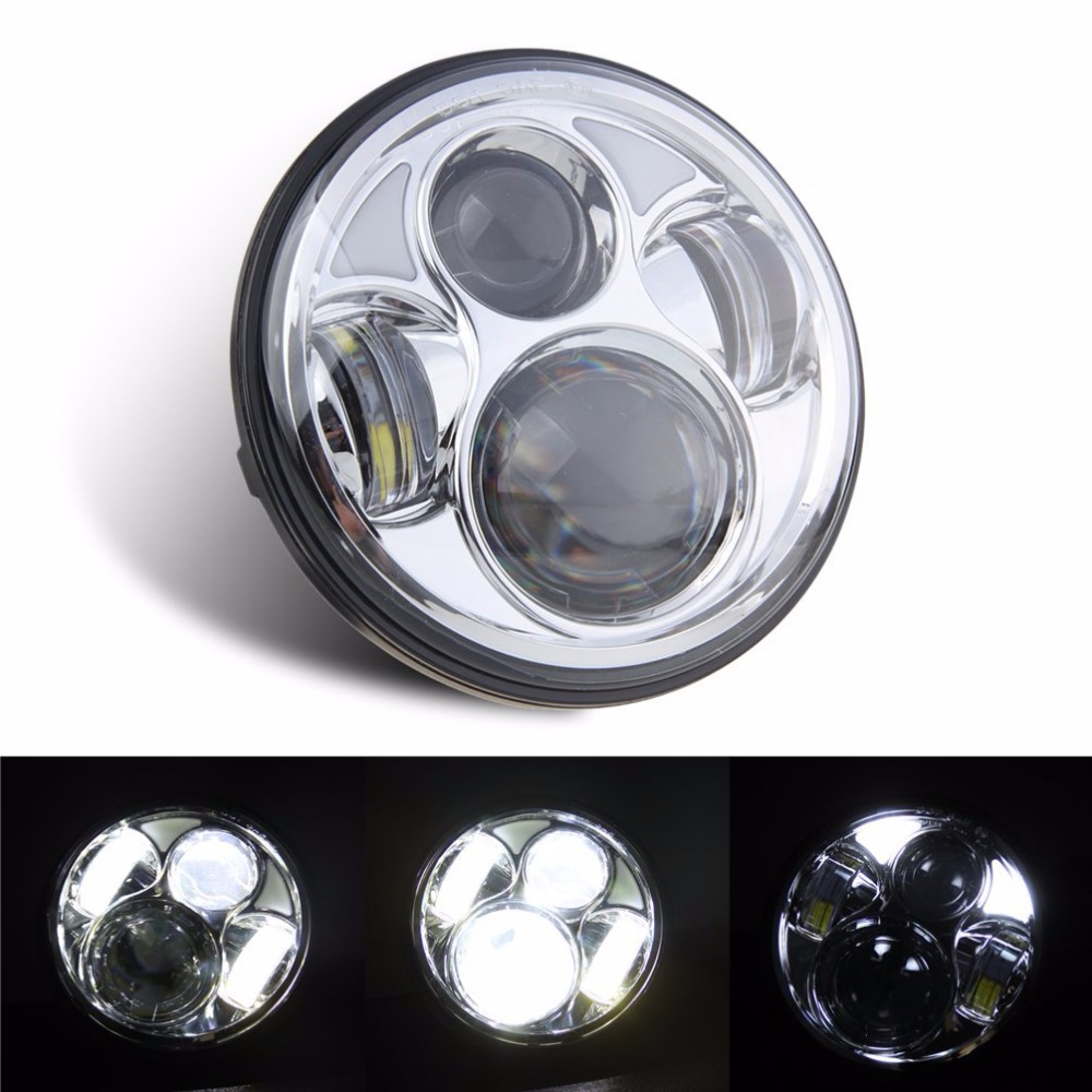 Chrome 5-3/4 5.75 inch Motorcycle Daymaker LED Projector Headlight Halo DRL For Harley Headlamp Spotlight Driving Light 5 75 inch daymaker led motorcycle headlight projector lens faro moto for harley led 5 3 4 headlight round headlamp motorcycle