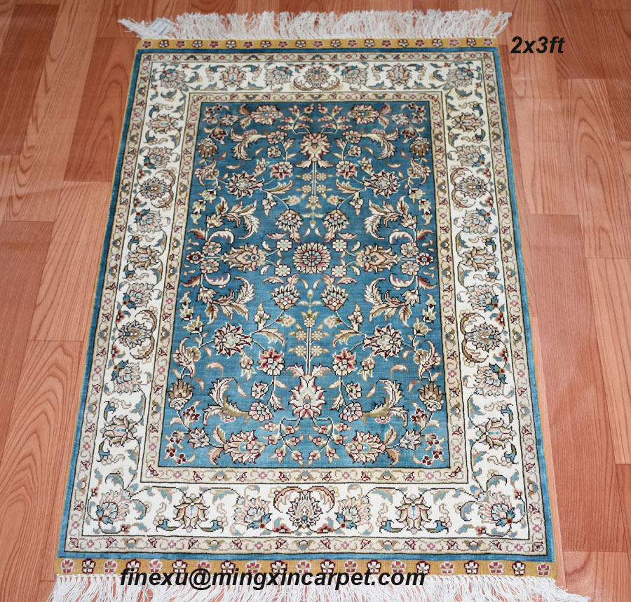 2ftx3ft61cmx91cm 230lines On Sale Pricechinese Handknotted 100 Pure Silk Carpet Rugs Turkish Blue Flower Style In From Home Garden