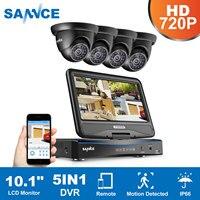 SANNCE 4CH 1080N HD 10,1 дюймов Displayer DVR 4 шт. 1.0MP 720 P купольная камера видеонаблюдения ночное видение системы товары теле и видеонаблюдения комплект