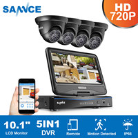 SANNCE 4CH 1080N HD 10.1inch Displayer DVR 4PCS 1.0MP 720P Dome CCTV Cameras Night Vision System Video Surveillance System Kit