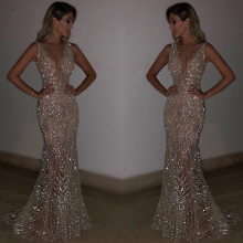 Luxury New Sequined Dress Sexy Party Sleeveless Deep V Cathedral Bride