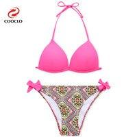 Fashion Hot Triangle Top Bikinis Patchwork Colors Print Biquinis Women Swimwear