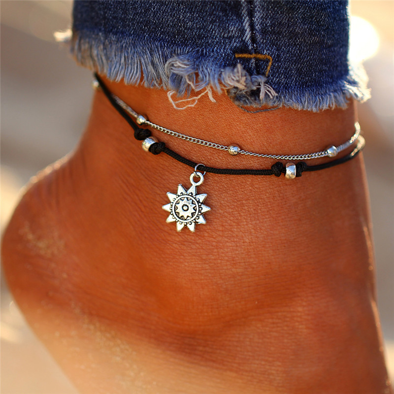 Vintage Multiple Layers Anklets For Women Retro Elephant Sun Pendant Foot Jewelry Barefoot Sandals Ankle Bracelet on the Leg New 3