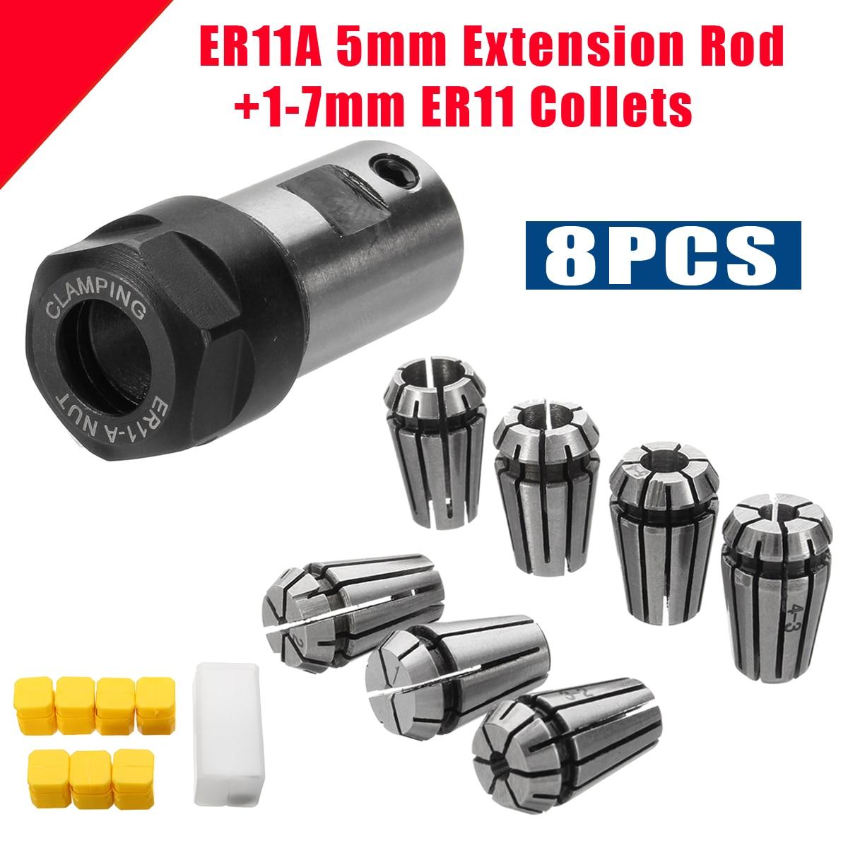 7Pcs High Carbon Steel ER11 Spring Collet ER11A 1/2/3/4/5/6/7mm Set+5mm Extension Rod Motor Shaft Holder For CNC Lathe Engraving7Pcs High Carbon Steel ER11 Spring Collet ER11A 1/2/3/4/5/6/7mm Set+5mm Extension Rod Motor Shaft Holder For CNC Lathe Engraving