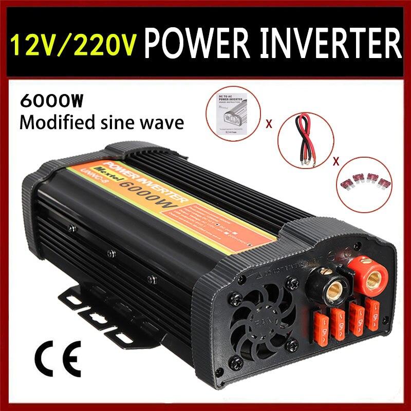 Inversor 6000 W 12 V a CA 220 voltios LCD Digital Max 12000 vatios convertidor de onda sinusoidal modificada carga del coche transformador convertidor USB