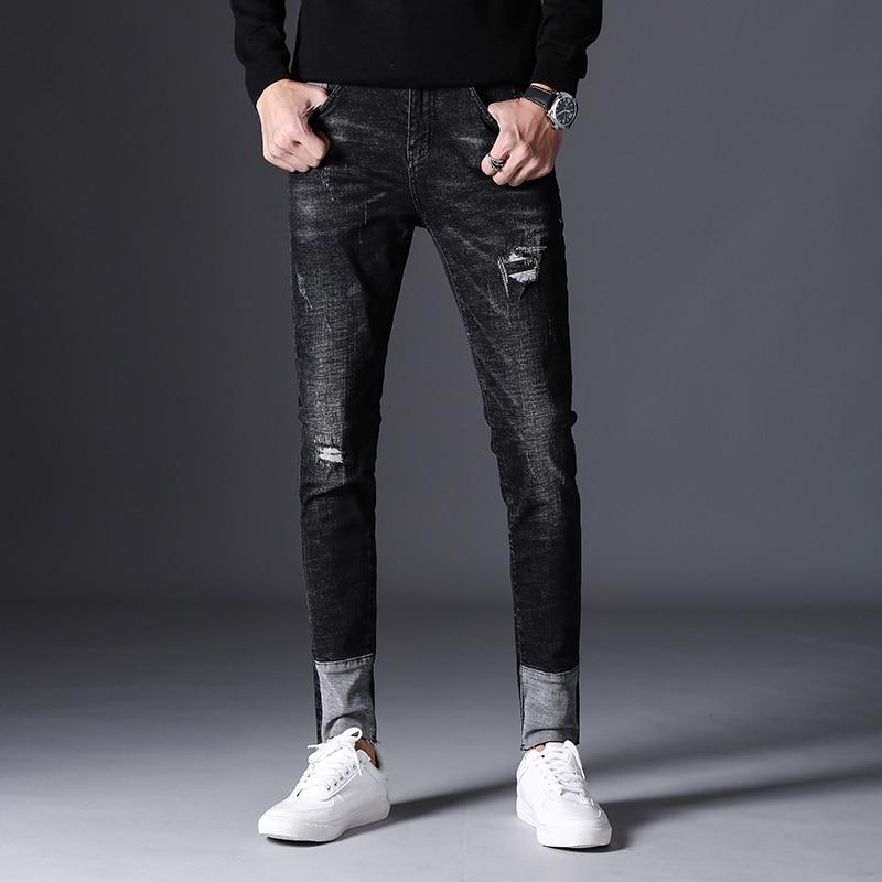 Mens Pant Men Hole Ripped Spliced Black Jeans Fashion Spring High Elasticity Slim Fit Cotton Pencil Denim Trousers Plus Size 36