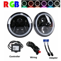 TNOOG For Jeep Wrangler Headlights 7 Inch Round LED Headlight Conversion Kit DLR Light Assembly For