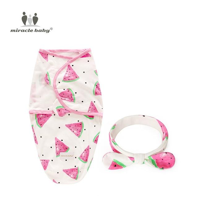 Ensemble de 2 pièces pour nouveau-né | Lange d'emmaillotage + couvre-chef, en coton, couverture de réception, literie dessin animé, sac de couchage pour bébé pour 0-6 mois