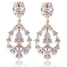 Luxury geometric Cubic Zircon Earrings gold color CZ Crystal Earrings Bridal Wedding Jewelry For Women