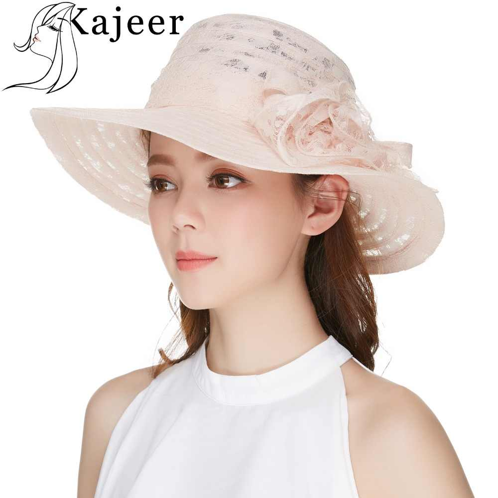 eef58f610bc Kajeer Sun Caps Summer Hats For Women Milk White Lace Flower Design  Sunbonnet Wide Brim Floppy