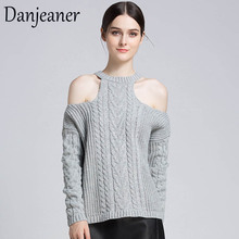Danjeaner Sexy Off Shoulder Retro Twisted Pullovers Autumn Winter Long Sleeve Streetwear Knitting Sweaters Plus Size Jumpers