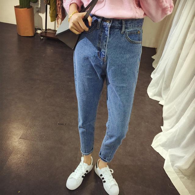 2016 Elegante Mulheres Namorado BF Jeans Stretch Denim Calças Senhoras De Cintura Alta Do Vintage Magro Calça Jeans Lápis Calças Femininas