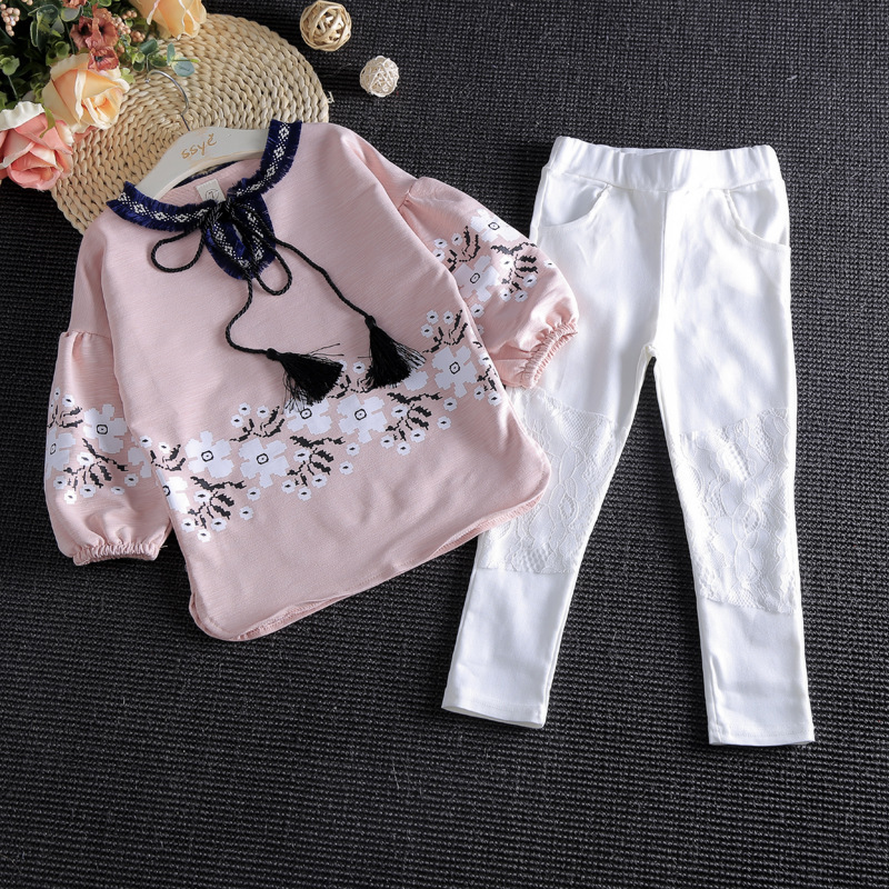 Baby Girl Clothes 2pcs Long Sleeve Flower Print Shirt + White Lace Pants Spring autumn girl clothing set kids boutique clothes