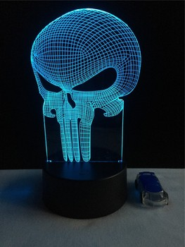 GAOPIN Halloween Skull Shaped 3D Lamp lighting LED USB Mood Night Light Multicolor Touch or Remote Luminaria Change Table Lamp