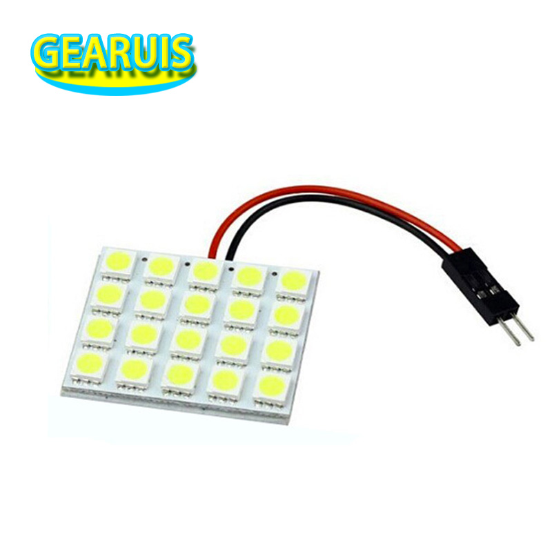 100pcs/lot Dome light 20SMD 5050 20 smd LED car interior Dome panel roof reading Light t10 / ba9s festoon 2 adapters white 12v