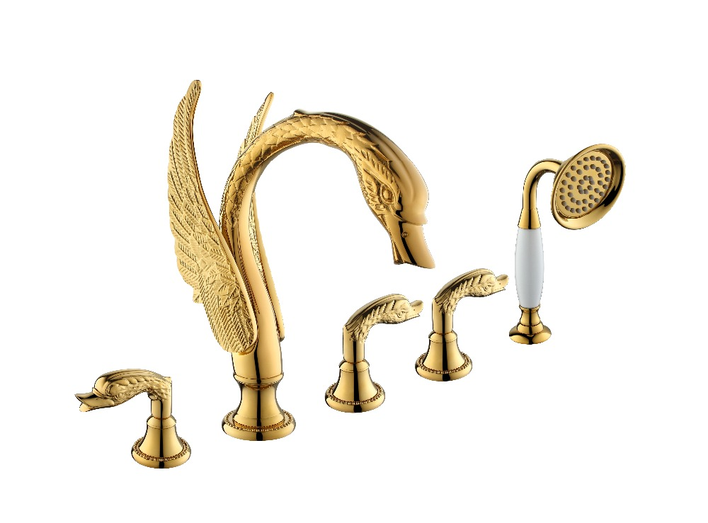 Free ship 5 Pieces widespread 24k gold pvd finish solid brass waterfall swan tub shower faucet mixer tap WITH white Hand SHOWER