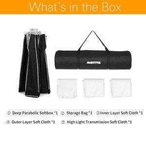 Image 2 - AMBITFUL Softbox parabólica portátil con instalación rápida, decodificador de luz para estudio, Flash, Speedlite, Bowens, P120, 120CM