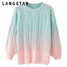LANGSTAR Plus Size Pearl Sweater Round Collar Beaded Color Blocking Soft Loose Knitting Thick Women Rainbow Sweater Pullovers