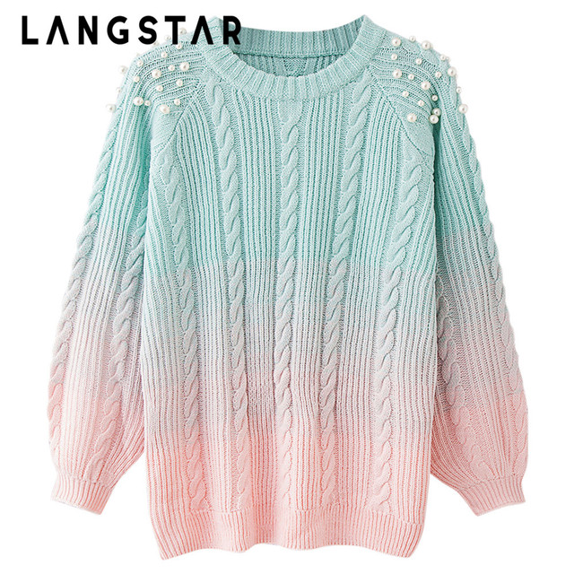 e6e7979f10c LANGSTAR Plus Size Pearl Sweater Round Collar Beaded Color Blocking Soft  Loose Knitting Thick Women Rainbow Sweater Pullovers