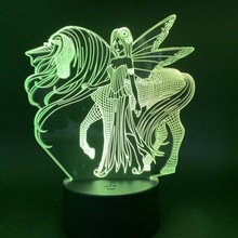 Unicorn Beautiful Girl Led Night Light Color Changing Cool Nightlight for Girl Birthday Gift As Bedroom Decoration Desk Lamp 3d dandelion unicorn 3d led nightlight wood base with music box dimming remoting switch little girl gift bedroom deco lamp iy804015