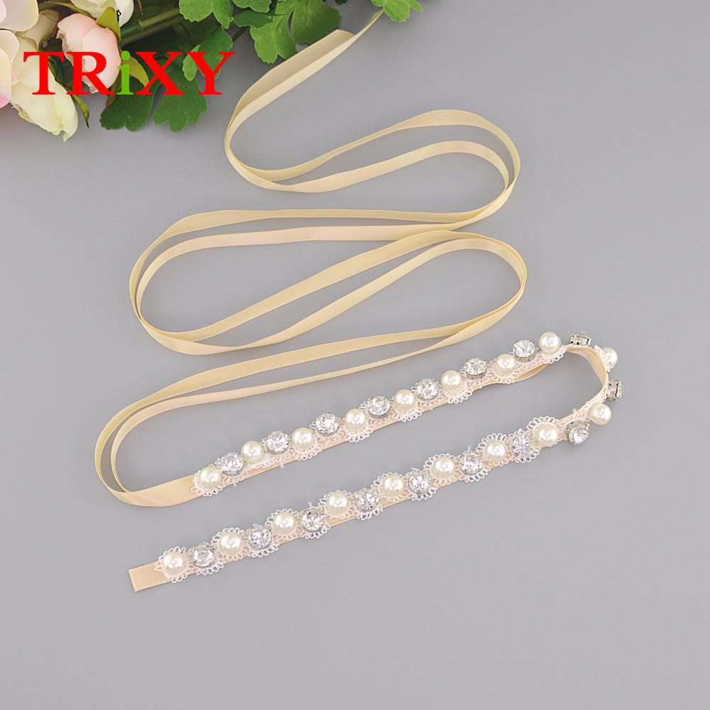 Bridal Blets Straightforward Trixy S71 Free Shipping Pearls Wedding Belt Crystal Bridal Sash Sliver Rhinestones Satin Bridal Belt Wedding Dress Accessories Traveling