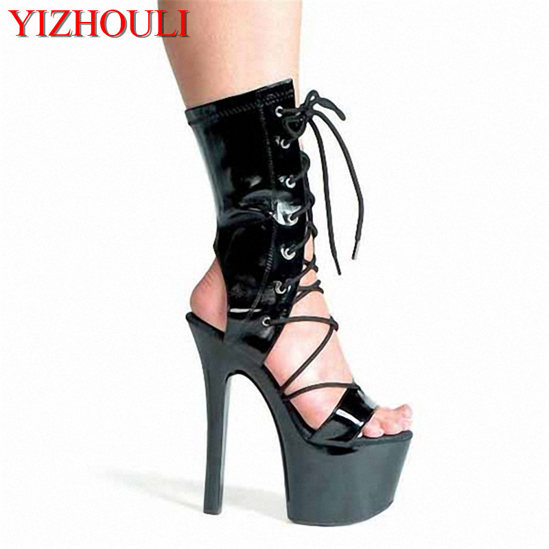 Wear single women's boots, European and American style women's shoes 15CM high heel shoes/low boot night collar, dancing shoes 15cm club shoes big star with steel tube dancing shoes 34 and 46 yards high with the lacquer that bake single crystal shoes
