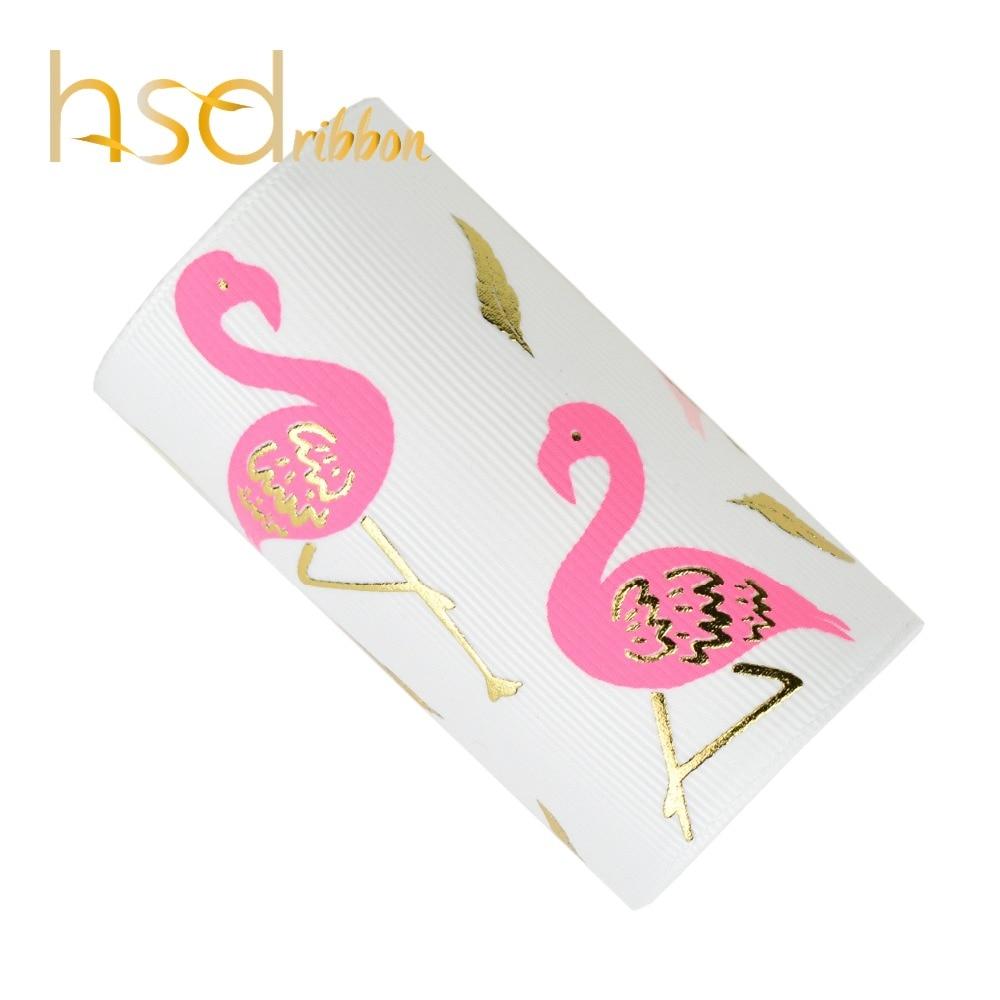 HSDRibbon designer custom 75 MILLIMETRI 3 pollici Flamingo due inchiostro a colori con lamina d'oro su un Solido Del Nastro Del Grosgrain 50 Yards /rotolo-in Nastri da Casa e giardino su  Gruppo 1