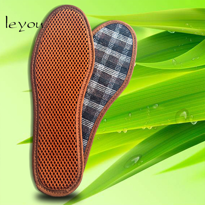 Leyou Bamboo Charcoal Deodorant Shoe Pad Breathable Anti-Bacterial Sweat Absorbant Insoles Damping Anti-slip Insoles For Shoes