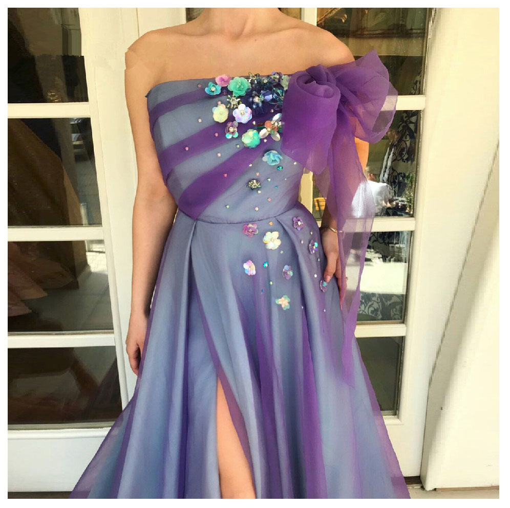 LORIE Purple  Evening Dress Party Gowns Robe De Soiree Side Split Prom Dresses Plunging 3D Flowers Beading Top