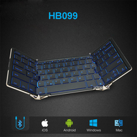 Folding wired Bluetooth keyboard HB099 Andrews flat panel mobile phone notebook general small portable backlight Keyboards