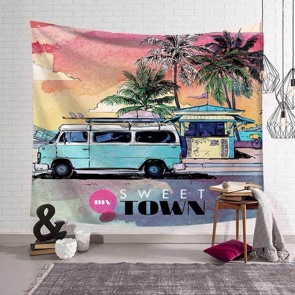 Sweet Town Tapestry Bohemian Wall Hanging Seaside Scenery Coconut Palm Wall Tapestry Tenture Murale Mandala Beach Towel Yoga Mat