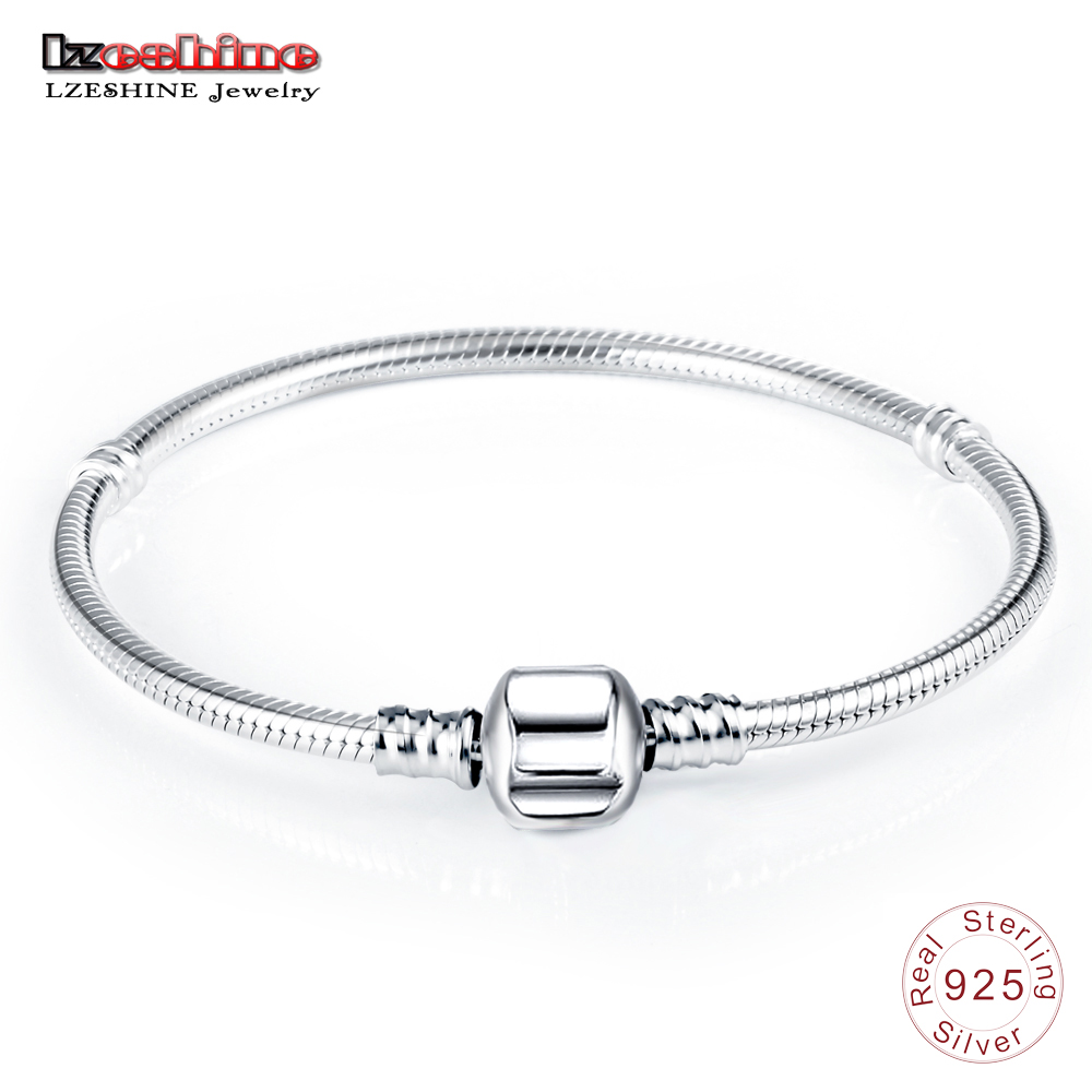 LZESHINE Authentic 100% 925 Sterling Silver Basic Snake Chain Clasp Bracelet & Bangle Luxury Jewelry Gift PSBR0018 ...