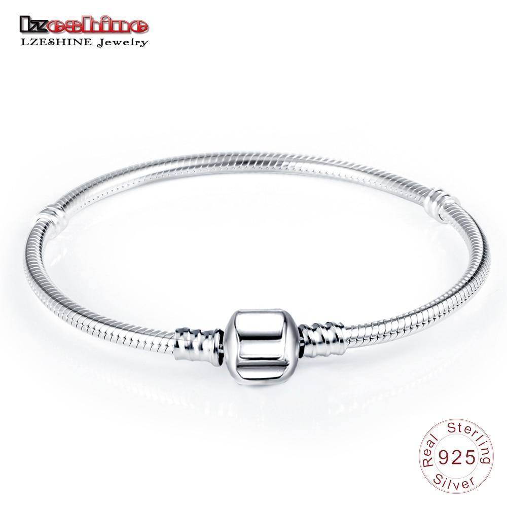 LZESHINE Authentic 100% 925 Sterling Silver Basic Snake Chain Clasp Bracelet & Bangle Luxury Jewelry Gift PSBR0018