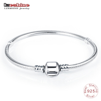 LZESHINE Authentic 100 925 Sterling Silver Basic Snake Chain Clasp Bracelet Bangle Luxury Jewelry Gift PSBR0018