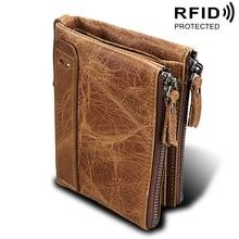 Men Wallets Genuine Cow Leather Double Zipper Short Card Holder Male Wallet Fashion Top Quality Simple Brand Men Purse