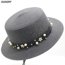 Nueva moda mujer verano paja Toquilla playa Panamá sombrero de Sol para  dama elegante Floppy ala ancha perla flor Sunbonnet d7e4d3354d7