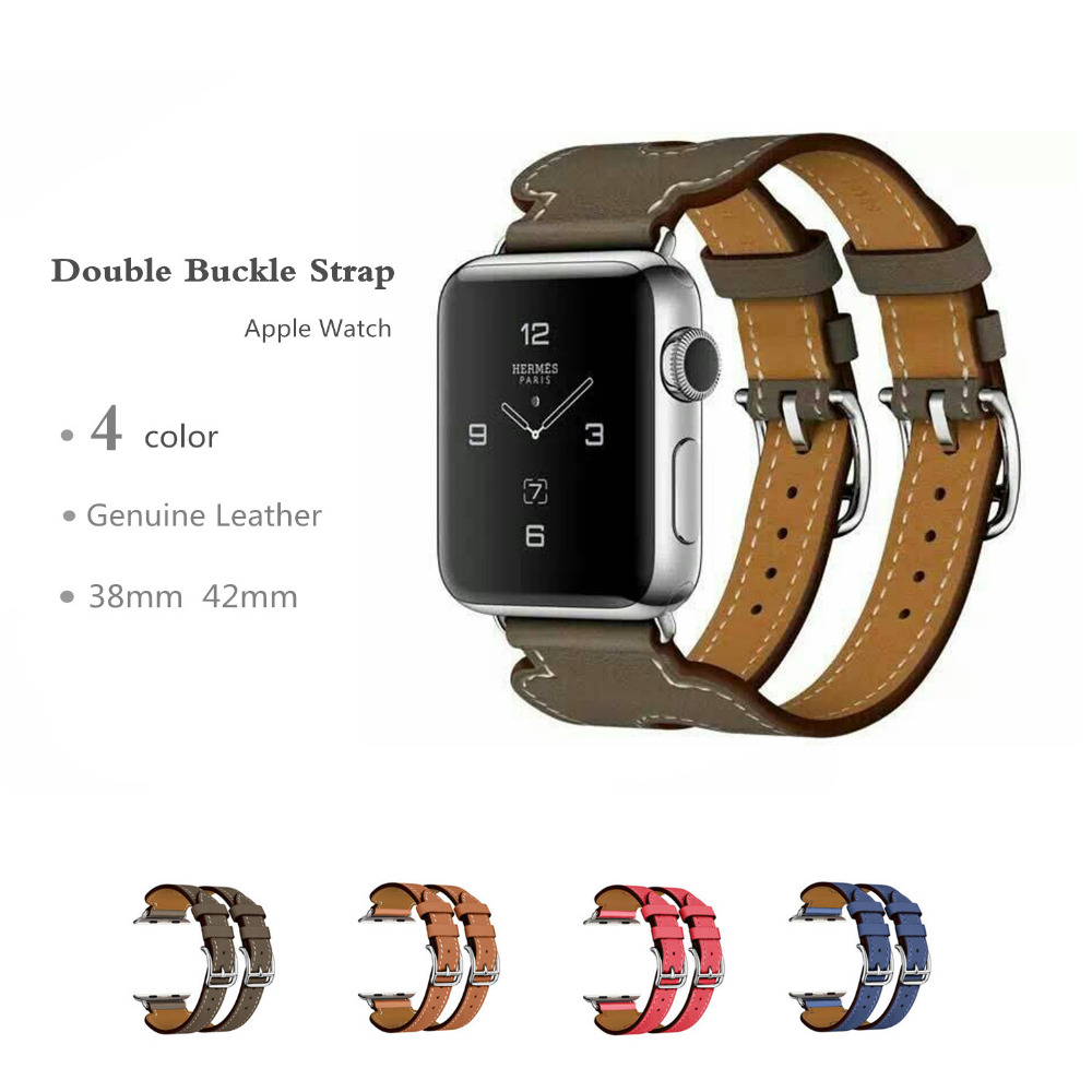 Genuine Leather double buckle cuff band For Apple Watch hermes 38mm 42mm bracelet  Leather Strap watchband 48233605568