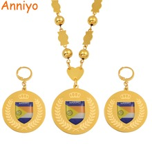 Anniyo Majuro Flag Jewelry sets Stainless Steel Pendant Beads Necklaces Earrings Round Ball Chain Marshallese Jewelry #073921