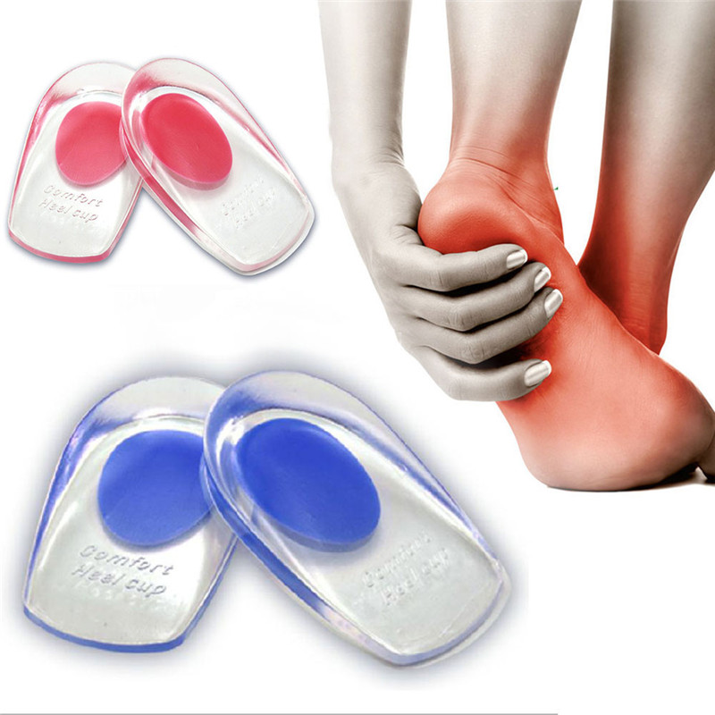 Pair Silicone Cushion Gel Shoes Pads Insoles Massager Inserts Heel Pain Spur LOT