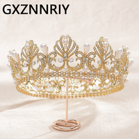 Bride Tiaras and Crowns Pearl Rhinestone Gold Crown Headband Bridal Wedding Hair Accessories Women New Fashion Party Jewelry