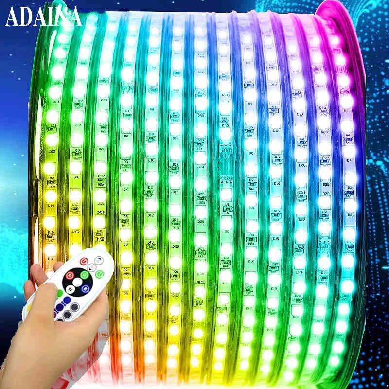 8 Model Sealed Waterproof Led Strip Light DC220V Diode Tape RGB SMD5050 60 Chips/M Warm Led Light Outdoor Home Decor Ledstrip
