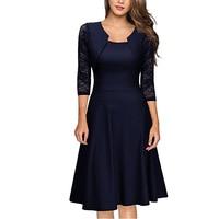 2017 Plus Size Elegant Autumn Women Vintage Work Gauze Dresses Lady Lace Half Sleeve Knee O