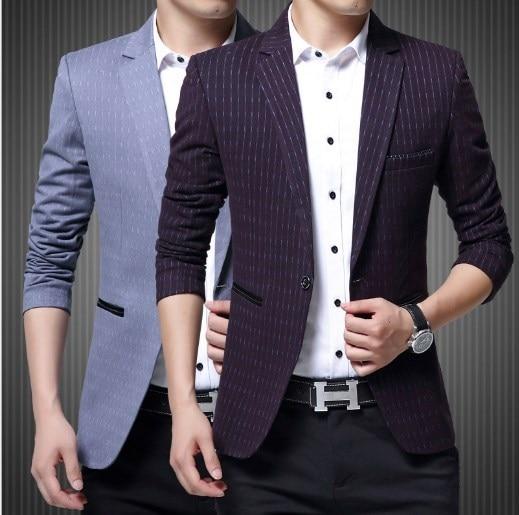 93771755b71 Men Slim Fit Blazer Fancy Blazers For Men Stage Costumes For Singers Prom  Blazers Mens Striped Suit Jacket Purple Blue
