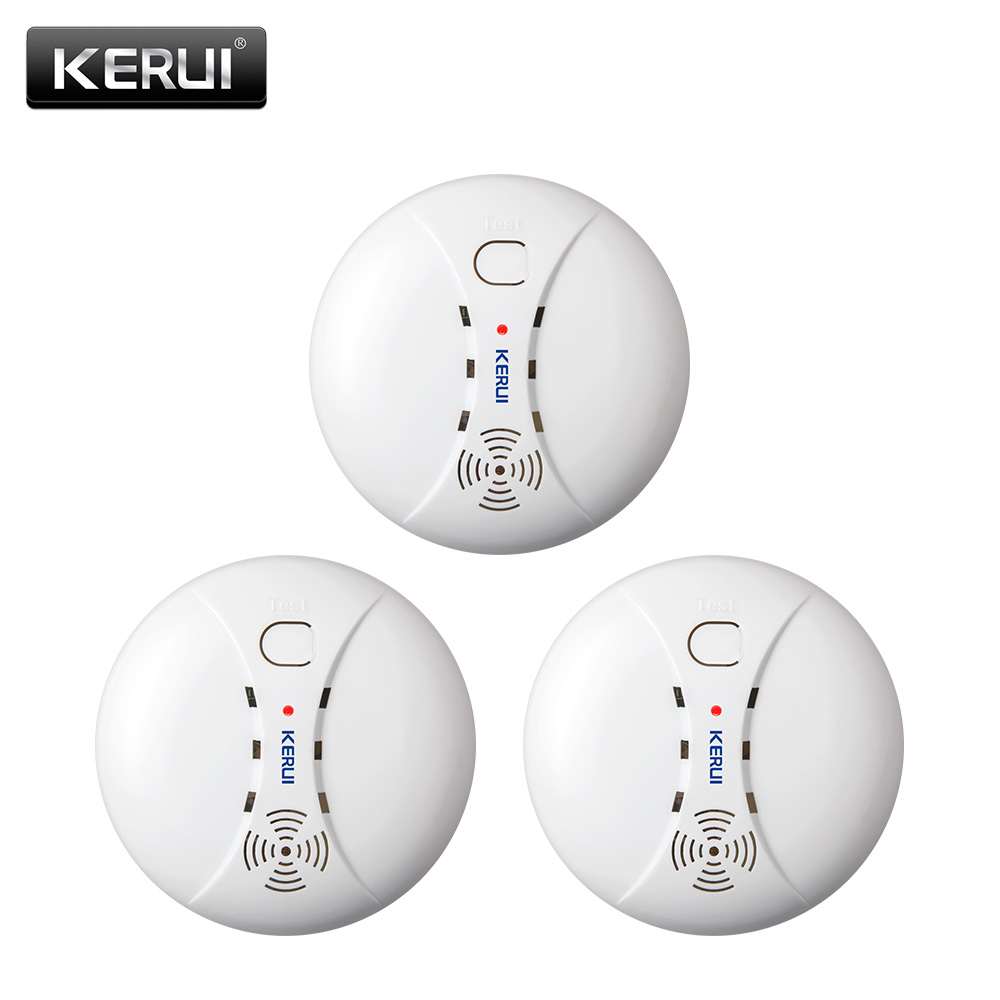 KERUI 3pcs 433MHZ Home Kitchen Security Wireless Fire Smoke Detector Smoke Sensor Alarm For GSM Wifi Alarm System(China)