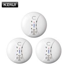 KERUI, 3 шт., 433 МГц, для домашней кухни, безопасность, беспроводной пожарный детектор дыма, датчик дыма, сигнализация для GSM, Wifi, сигнализация